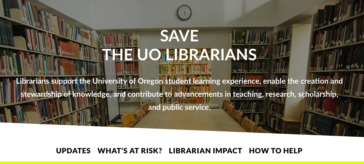 Screenshot of UO Librarians United Website